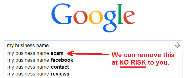 business name with scam in google autocomplete
